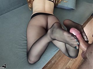 Pantyhose Girlfriend Gives Footjob with Cum on Feet - Foot Fetish