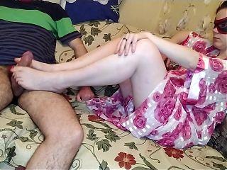 Femdom footjob and cum on sexy feet