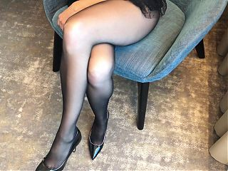 Hot Leg Tease in Black Pantyhose