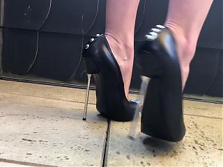 Sexy Feet Tease And Walking In High Heels Showing Blue Toes
